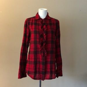 GAP Red Plaid Flannel, Button Up, Ruffled Shirt